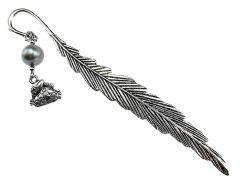 Semn de carte metalic zodia Rac, cu perla