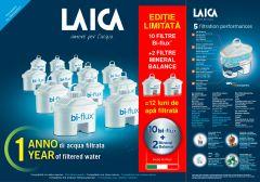 Pachet 10 cartuse filtrante Laica Bi-flux + 2 Magnesium Active, 12 luni apa filtrata
