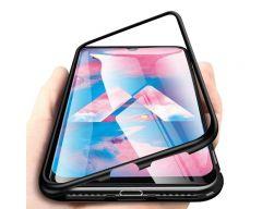 Husa Premium Magneto Glass Upzz Pro Samsung Galaxy A20e Negru Cu Spate Transparent Cu Folie Nano Glass