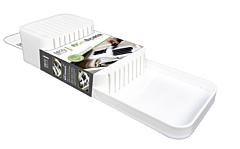 Organizator compartimentat cutite, PP, 39x14x7.3 cm, Alb/Gri