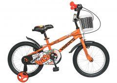 "Bicicleta baieti VELORS V1601A, roata 16"", C-Brake, cosulet, roti ajutatoare, 4-6 ani, portocaliu"
