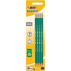 Creion grafit cu radiera BIC Eco Evolution,  4 bucati