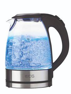 Cana electrica fierbator din sticla ECG RK 1776 Glass, 1,7 L, 2200 W, lumina albastra de fundal