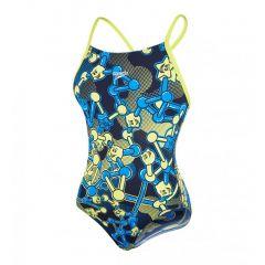 Costum de baie Speedo pentru fete allover rippleback negru/violet/portocaliu