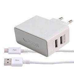Incarcator Retea Dual USB 2.1A Alb cu cablu Type-C Procell