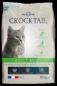 Hrana completa pentru pisici adulte care prefera gusturile variate, Crocktail Multi, cu pasare si legume, 10 kg