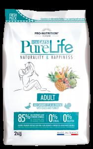 Hrana uscata grain free pentru pisici adulte, PureLife cu Rata si Curcan, 2 kg