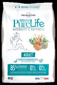 Hrana uscata grain free pentru pisici adulte, PureLife cu Rata si Curcan, 8 kg
