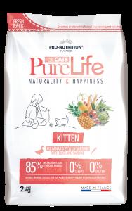 Hrana uscata grain free pentru pisoi si femele gestante, PureLife Kitten cu Rata si Sardine, 2 kg