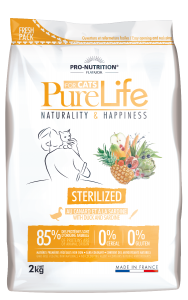 Hrana uscata grain free pentru pisici adulte sterilizate, PureLife cu Rata si Sardine, 2 kg