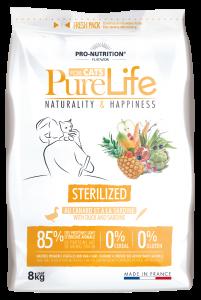 Hrana uscata grain free pentru pisici adulte sterilizate, PureLife cu Rata si Sardine, 8 kg
