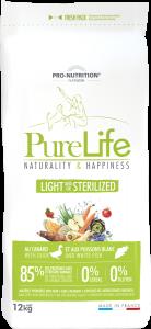 Hrana uscata grain free pentru caini sterilizati, Flatazor PureLife Light, cu rata si peste alb, 12 kg