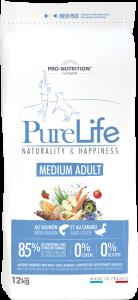 Hrana uscata grain free pentru caini de talie medie, Flatazor PureLife Medium Adult, cu somon si rata, 12 kg