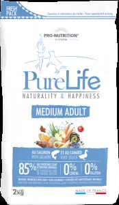 Hrana uscata grain free pentru caini de talie medie, Flatazor PureLife Medium Adult, cu somon si rata, 2 kg