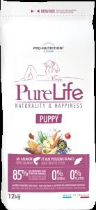 Hrana uscata grain free pentru catei si femele gestante, Flatazor PureLife Puppy, cu somon si peste alb, 12 kg