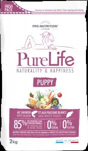 Hrana uscata grain free pentru catei si femele gestante, Flatazor PureLife Puppy, cu somon si peste alb, 2 kg