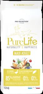 Hrana uscata grain free pentru caini, Flatazor PureLife Maxi Adult, cu rata si peste alb, 12 kg