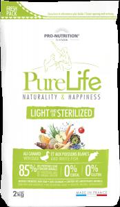 Hrana uscata grain free pentru caini sterilizati, Flatazor PureLife Light, cu rata si peste alb, 2 kg
