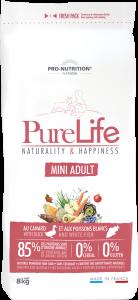 Hrana uscata grain free pentru caini, Flatazor PureLife Mini Adult cu rata si peste alb, 2 kg