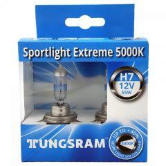 Set 2 becuri auto cu halogen Tungsram H7 Sportlight Extreme, 5000k, 12V, 55W, PX26D