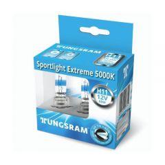 Set 2 becuri auto cu halogen Tungsram H11 Sportlight Extreme, 5000K, 12V, 55W, PGJ19