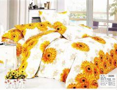 Lenjerie Casa New Fashion pentru pat dublu, 4 piese, alb cu imprimeu floral