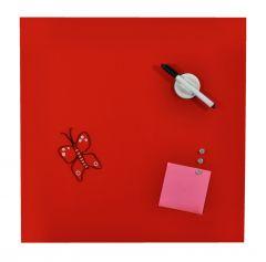 Tabla magnetica, din sticla, DESQ 4250.03, 35 x 35 x 1.7 cm, fara rama, rosie
