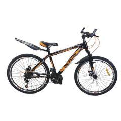 "Bicicleta MTB 26"", Bicystar, Negru-Portocaliu, Suspensie fata, Frana pe disc, 21 Viteze, Jante duble"