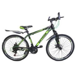 "Bicicleta MTB 26"", Bicystar, Negru-Verde, Suspensie fata, Frana pe disc, 21 Viteze, Jante duble"