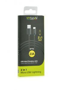 Cablu date 2 in 1 Micro/Lightning 1m NEGRU