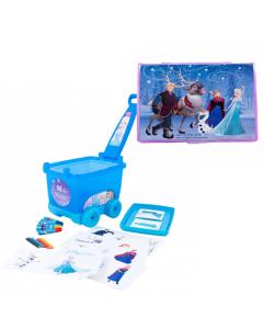 Carucior cu accesorii de colorat Frozen + Set pictura 68 piese Frozen