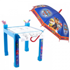 Masa cu accesorii de colorat PJ Masks + Umbrela Paw Patrol 60 cm