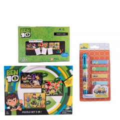 Puzzle 3 in 1 Ben 10 + Pix 6 culori + memo stick Minions