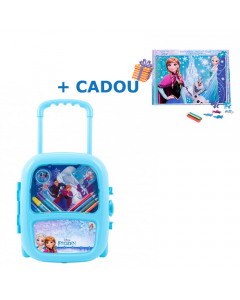 Set troler cu coloriaj Frozen + Cadou Puzzle 160 piese + Bonus Frozen