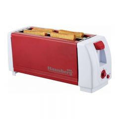 Prajitor de paine Hausberg HB 185, 4 felii, 1300W, 7 trepte temperatura, Rosu