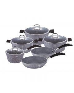 Set oale aluminiu forjat, 3 straturi marmura, manere silicon, 6 piese + 4 capace, Berlinger Haus