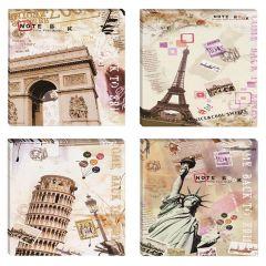 Set 4 tablouri canvas decor cu Turn Eiffel & Arc de Triumf Paris Franta Turn Pisa Italia Statuia Libertatii SUA 4x 30x30cm