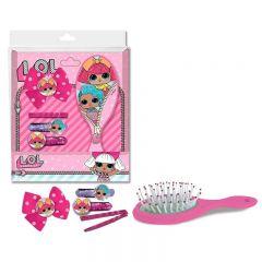 Set accesorii de par LOL 1 perie, 1 agrafa, 2 elastice de par cu imaginea papusii LOL