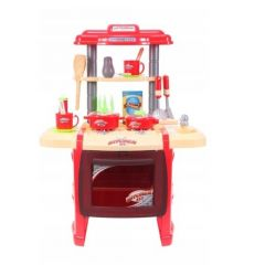 Bucatarie Malplay pentru copii cu accesorii si cuptor, rosu