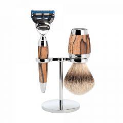 Set de barbierit cu aparat de ras compatibil Gillette Fusion si pamatuf cu par de bursuc cu maner din lemn de fag Muehle Stylo S 091 H 72 F