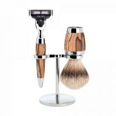 Set de barbierit cu aparat de ras compatibil Mach3 si pamatuf cu par de bursuc cu maner din lemn de fag Muehle Stylo S 091 H 72 M3