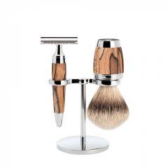 Set de barbierit cu aparat de ras clasic si pamatuf cu par de bursuc cu maner din lemn de fag Muehle Stylo S 091 H 72 SR