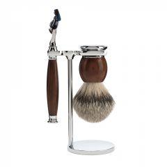 Set de barbierit cu aparat de ras compatibil Gillette Fusion si pamatuf cu par de bursuc cu maner din lemn de esenta tare Muehle Sophist S 93 H 47 F