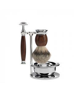Set de barbierit cu aparat de ras clasic, pamatuf cu par de bursuc cu maner din lemn de esenta tare si bol Muehle Sophist S 93 H 47 SSR