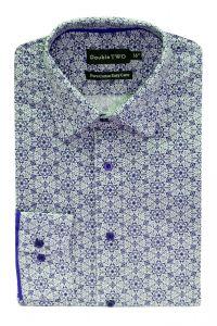 Camasa barbati clasica, Double Two-British Design, maneca lunga cu manseta nasturi/butoni, bumbac, camasa barbateasca regular fit, model flori, usor de calcat, alb-albastru, 42