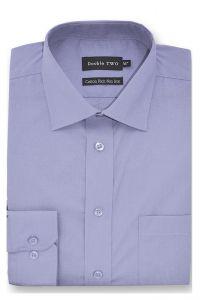 Camasa barbati clasica, Double Two-British Design, maneca lunga cu manseta nasturi/butoni, bumbac, camasa barbateasca regular fit, uni, usor de calcat, albastru petrol, 43