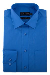 Camasa barbati clasica, Double Two-British Design, maneca lunga cu manseta nasturi/butoni, bumbac, camasa barbateasca regular fit, uni, usor de calcat, albastru royal, 38