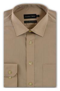 Camasa barbati clasica, Double Two-British Design, maneca lunga cu manseta nasturi/butoni, bumbac, camasa barbateasca regular fit, uni, usor de calcat, bej, 38