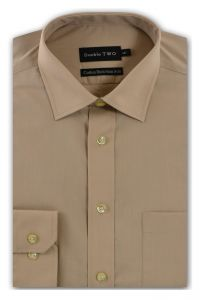 Camasa barbati clasica, Double Two-British Design, maneca lunga cu manseta nasturi/butoni, bumbac, camasa barbateasca regular fit, uni, usor de calcat, bej, 45/46