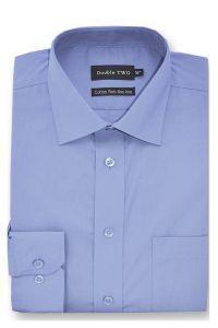 Camasa barbati clasica, Double Two-British Design, maneca lunga cu manseta nasturi/butoni, bumbac, camasa barbateasca regular fit, uni, usor de calcat, bleu, 38